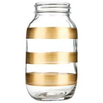 Large Glass Mason Jar with Gold Stripes | Hobby Lobby | 1108273
