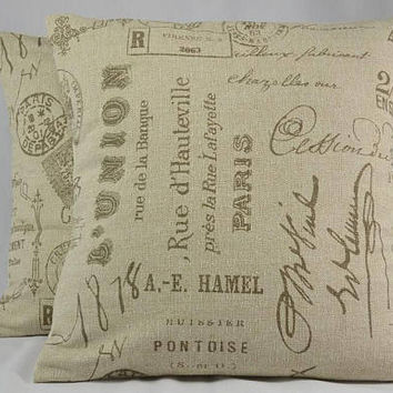 "Home Decor Pillow Cover, Square Pillow, Cushion Cover, Paris, French Writing, Oatmeal Pillow Cover, Throw Pillow - 16"" - PC20"