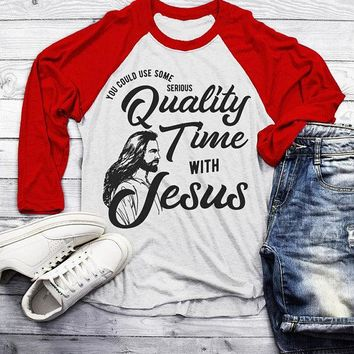 Men's Funny Jesus Raglan Need Quality Time Religious Christian Y'all Need Jesus Shirt 3/4 Sleeve