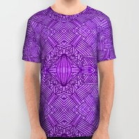 Purple Zentangle All Over Print Shirt by Idle Amusement