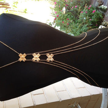 Triple X Gold Body Chain Harness, Gold Body Necklace