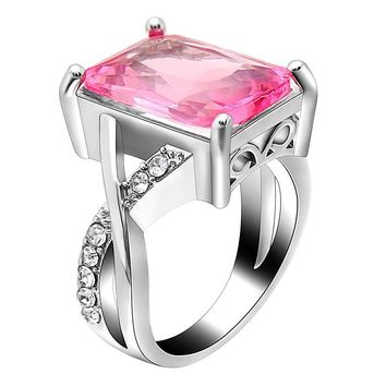 EMERALD CUT PINK CRYSTAL SWIRL RING MADE WITH SWAROVSKI ELEMENTS