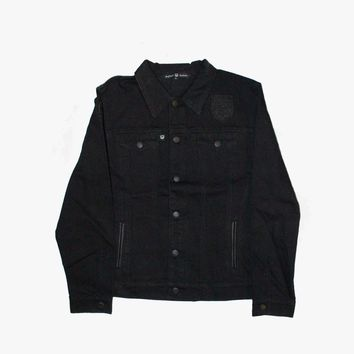 Black Leather Patch Denim Jacket