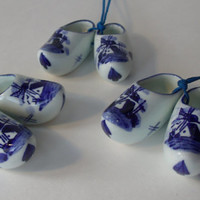 Vintage Miniature Dutch Shoes Blue Delftware Porcelain
