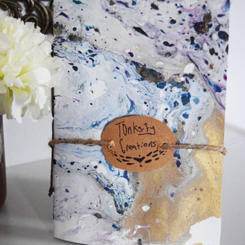 Handmade Marbled Paper Travel / Sketch Journal ; Version 2