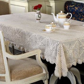 PineEye CROCHET TABLECLOTH - HANDMADE - 100% Cotton - Crochet Table Throw, Table Runner for Home Decor, Wedding, Birthdays, Bridal & Gifts.