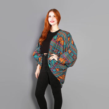 90s ANIMALS Print DUSTER JACKET / 1990s Ethnic Tribal Draped Cocoon Batwing Cardi