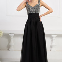Sleeveless Sequins Beaded Top Evening Dress