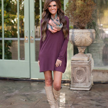 Bamboo Piko Dress Burgundy