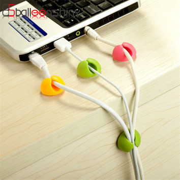 6pcs/pack Silicone USB Cable Organizer Headphone Cable Clip Wire USB Charger Cord Pen string Storage Rack Holder Random Color