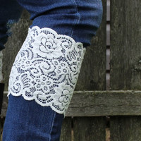 White Lace Boot Cuffs - Lace Cuff - Faux Lace Boot Cuffs - White Boot Topper