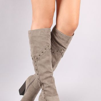 Bamboo Studded Chunky Heeled Knee High Boots