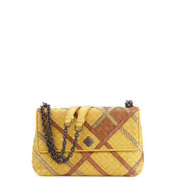 Bottega Veneta Olimpia Intrecciato Snakeskin & Leather Shoulder Bag, Yellow