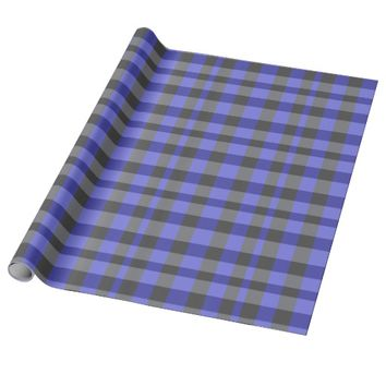 Blue and Black Ghost Plaid Wrapping Paper