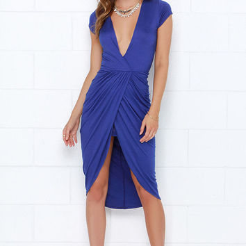 I'm Into You Indigo High-Low Wrap Dress