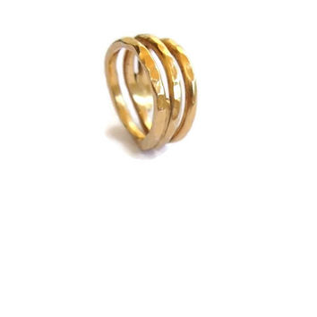 Gold plated handmade silver wire ring, silver goldplated ring, hammered ring, womens jewelry
