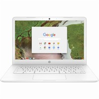 "HP - 14"" Touch-Screen Chromebook - Intel Celeron - 4GB Memory - 32GB eMMC Flash Memory - HP Finish In Snow White With A Brushed Pattern"