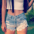 Boho Festival clothing High waisted denim shorts White Lace crochet jeans Hipster Tumblr by Jeansonly