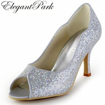 Woman Shoes New  Style EP2079  Silver Peep Toe high Heels Glitter Prom Party Pumps Bridal Wedding Shoes women lady