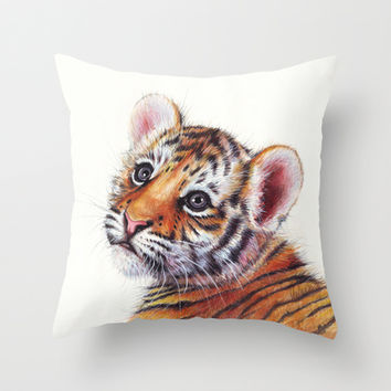 Tiger Cub Watercolor Painting Throw Pillow by Olechka