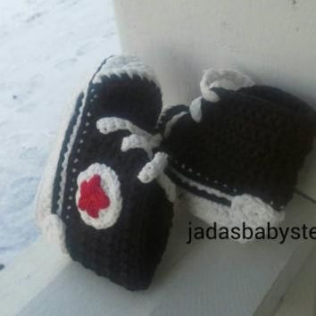 Crochet Converse Infant/Baby Booties ( Black/Red)