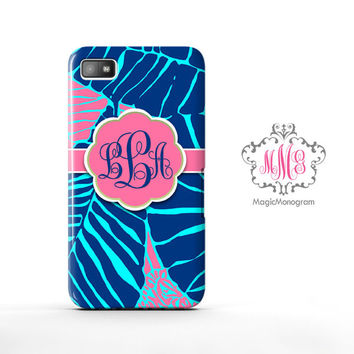 Under The Palm Lilly Pulitzer Monogram Blackberry Case Z10, BB Q10 Case