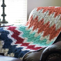 Pattern: Basket Weave Chevron Afghan