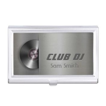 DJ Modern Metalic Stylish Vinyl Recoder Mixer Business Card Holder