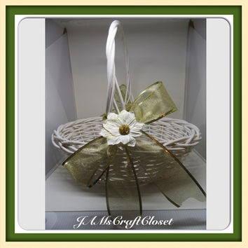 Vintage White Wicker Gathering Basket-Gold Bows-White Flower Accents-Country Decor-Home Decor-Wedding Decor-Centerpiece-Gift-Flower Girl