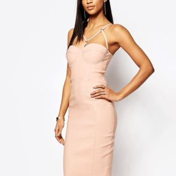 Lana Strech Leatherette Bustier Pencil Dress in 4 colors