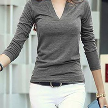 A| Chicloth Solid Casual Cotton V-Neckline Long Sleeve Blouses
