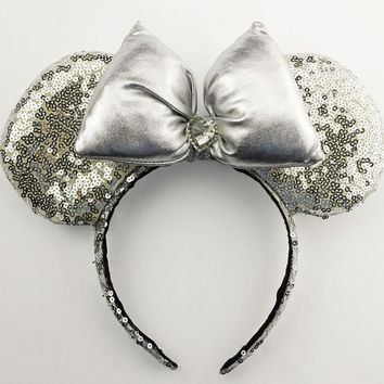 Minnie Mouse Ears Sequin Disney Ears Silver Sequin Minnie Mouse Bow Minnie Bow Sequin Mickey Mouse Ears Mickey Ears Sequin Minnie Ears
