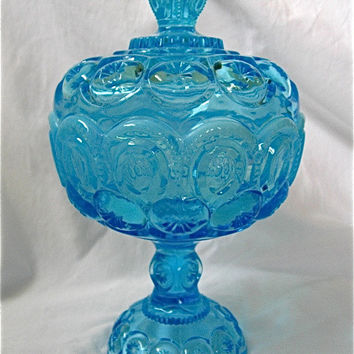 Blue Glass Pedestal Candy Dish with Lid