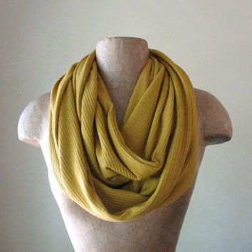 Golden Ochre Sweater Scarf - Infinity Knit Scarf - Mustard Yellow Circle Scarf - Eternity Scarf, Winter Scarf