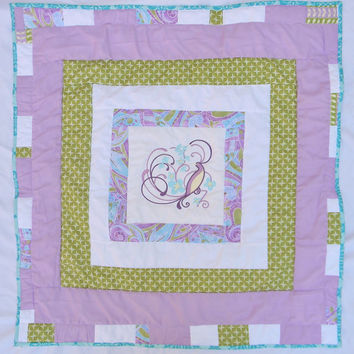 Homemade baby quilt - Bird quilt for girls - Purple and aqua - Ready to ship measures 35x34