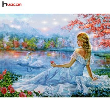 5D Diamond Painting Woman and Swans Kit
