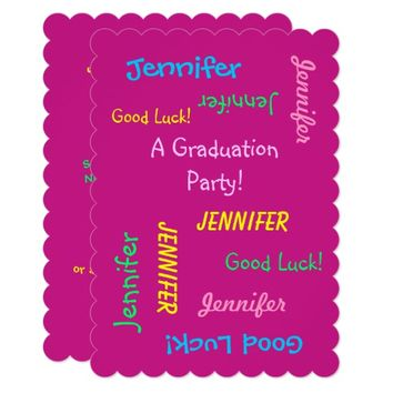 Graduation Party Invitation, Personalized Hot Pink Card