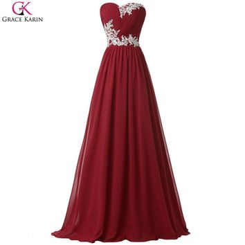 Grace Karin Long Elegant Prom Dresses Burgundy Green Blue Chiffon Strapless Wedding Party Pageant Dresses For Women Formal Gowns