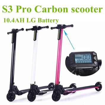 Foldable S3 Pro Carbon Electric Scooter Hoverboard 10.4AH LG Battery for Adults and Children Electric Bike Bicycle Electrombile