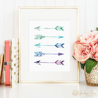 Faux holographic foil arrows, printable wall art decor, minimalist art, art for office, art for home (Instant digital download - JPG)