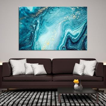 68921 - Blue Abstract Wall Art | Marble Canvas Print | Abstract Watercolor Art | Glacier Abstract Wall Art | Oil Style Painting | Housewarming Gift