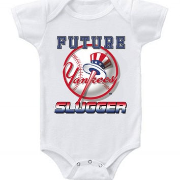 New Cute Funny Baby One Piece Bodysuit Baseball Future Slugger MLB New York Yankees #4