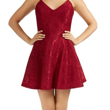 Teeze Me | Sleeveless Spaghetti Strap V Neck Floral Lace Fit and Flare Dress | Merlot