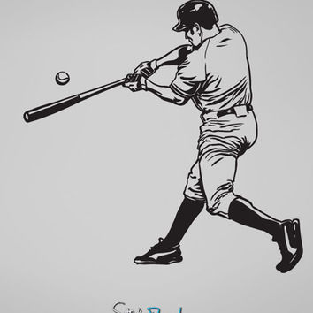 Vinyl Wall Decal Sticker Baseball Hitter 2 #679