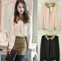 Hot Sale Sexy Woman Girl Sequined Collared Chiffon Blouse Shirt Top 3 Color Q129