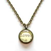 Lover Word Mini Pendant Librarian Reader Brass Setting Library Card Necklace One of a Kind