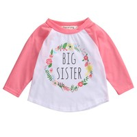 Hot Big Sister Kids Toddler Baby Girl Clothes Long Sleeve Letter T-shirt Cotton Tops 0-5Y