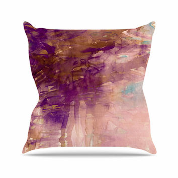 "Ebi Emporium ""Carnival Dreams 4"" Purple Brown Throw Pillow"