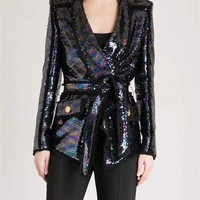 Midnight Sequins Wrap Jacket Blazer