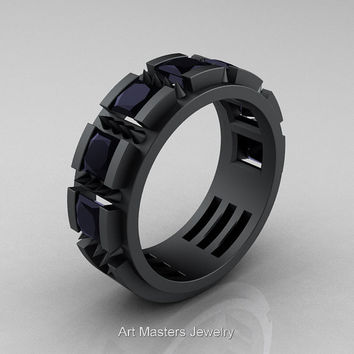 Mens Avant Garde 14K Matte Black Gold Princess Black Diamond Channel Cluster Thorn Wedding Ring R574-14KMBGBD